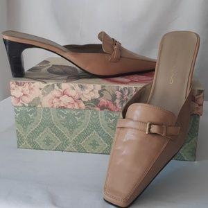 Bandolino Leather Camel Slides sz 9